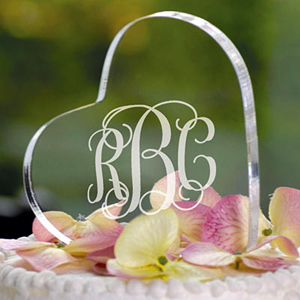 personalized cake topper heart intial designs